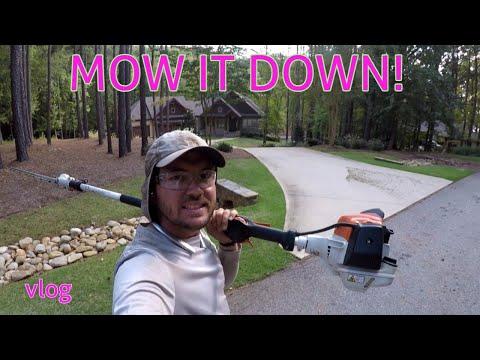 mowing-a-new-customer,-stihl-hl94k,-husqvarna-525l,-[vlog]