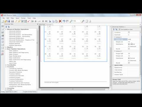 Making an Addition Worksheet with Math Resource Studio