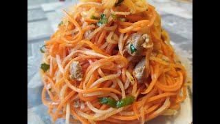 Морковь с редькой дайкон по корейски.