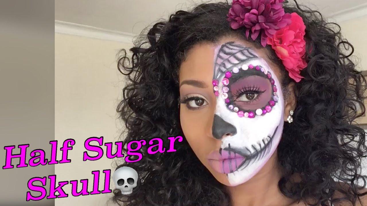 Half Sugar Skull Halloweenday Of The Dead Makeup Youtube