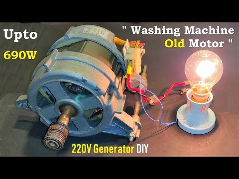 Hack ! 220V Electric Generator from a Washing Machine Motor DIY - Universal Motor to DC Generator