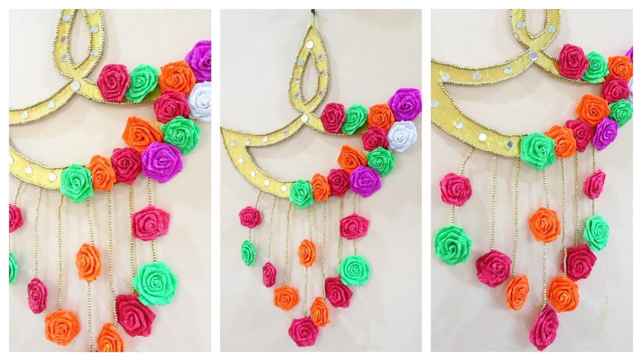 Diwali decoration ideas at home diy diya wall hanging for Diya decoration youtube