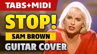 【Striptease music】 Sam Brown – Stop! (fingerstyle acoustic guitar tabs and midi)