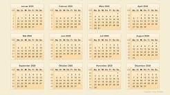 Kalender 2020 -  Kalenderwochen 2020