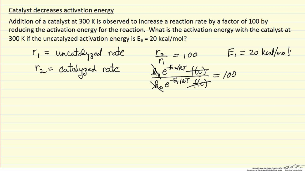Activation Energy Example (Example) - YouTube