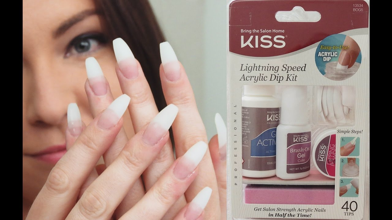 Kiss Lightning Speed Acrylic Dip Kit | Demo First Impression - YouTube
