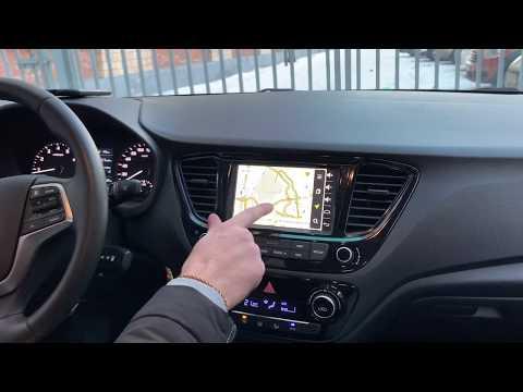 Hyundai Solaris со штатным цветным монитором - Яндекс Навигатор