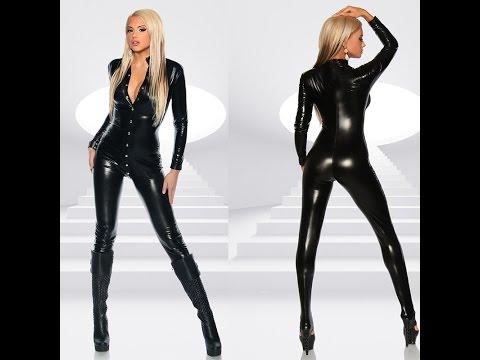 Women Black Leather Jumpsuit - YouTube