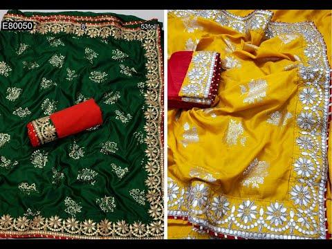 Super Attractive Dola Silk Sarees With Gold Foil U0026 Gota Patti Work (2021)