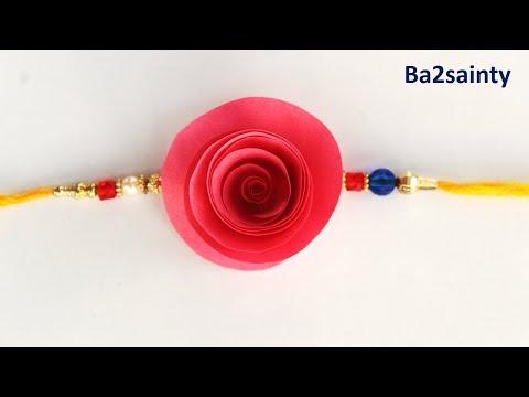 DIY- how to make rose Rakhi with paper || flower Rakhi for rakshabandhan fest || Rakhi tutorial