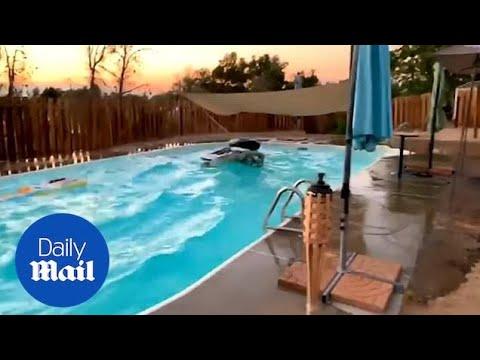 Како изгледа еден базен за време на земјотрес со јачина од 7,1 степен?