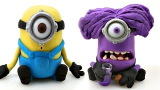 MINIONS Play doh STOP MOTION --- Surprise Eggs TMNT + MARVEL Minions
