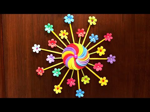 easy-diy-home-decor-idea---wall-decoration-with-paper-flowers---paper-crafts-flowers