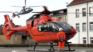 [HD] Ec 135 Christoph 34 landing & start , NHC02 As365 low pass at Hospital
