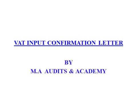 Vat input confirmation letter youtube spiritdancerdesigns Choice Image