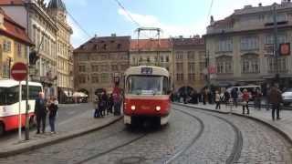 【チェコ】 プラハ市電 その3 マラー・ストラナ広場 Trams in Malostranské náměstí Prague, Czech Republic (2014.4)
