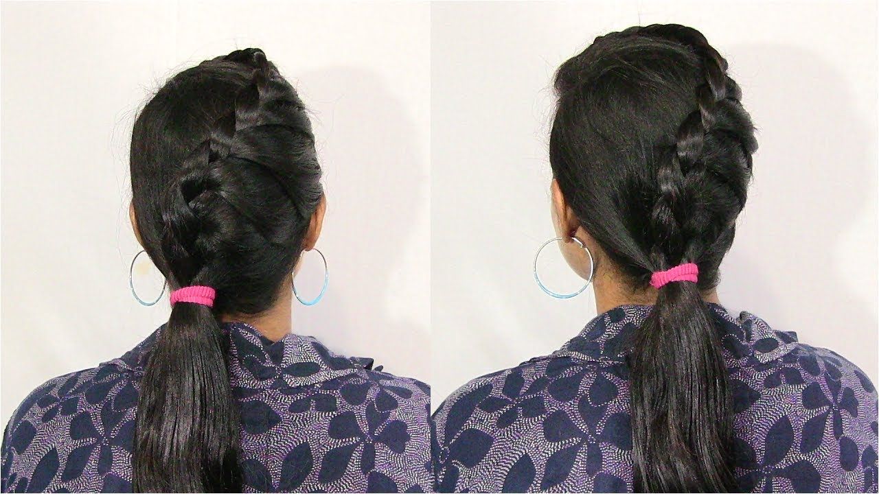Side French Braided Low Ponytail Hairstyle - YouTube