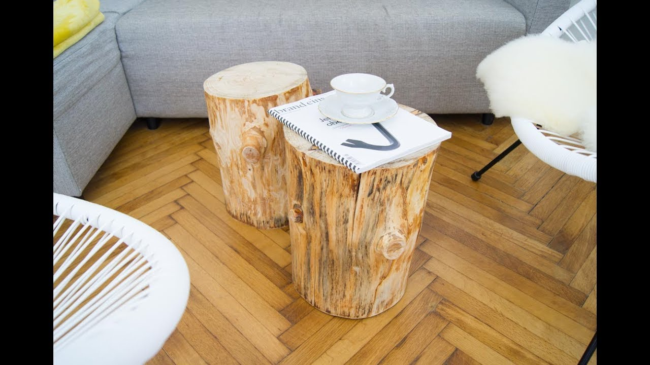 diy baumstamm couchtische selber machen - wood coffee table - youtube