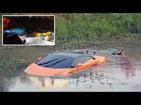 Driver Crashes Lamborghini Into Dirty Canal