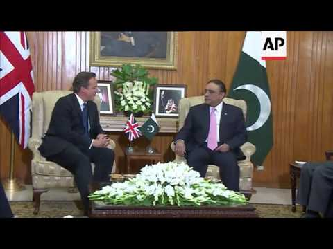 UK Prime Minister Cameron holds talks with Pakistan President Asif Ali Zardari