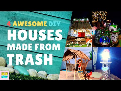 ♻️ 4 AWESOME DIY HOUSES MADE FROM TRASH | Recycling Ideas for Kids | KH Toys at Work