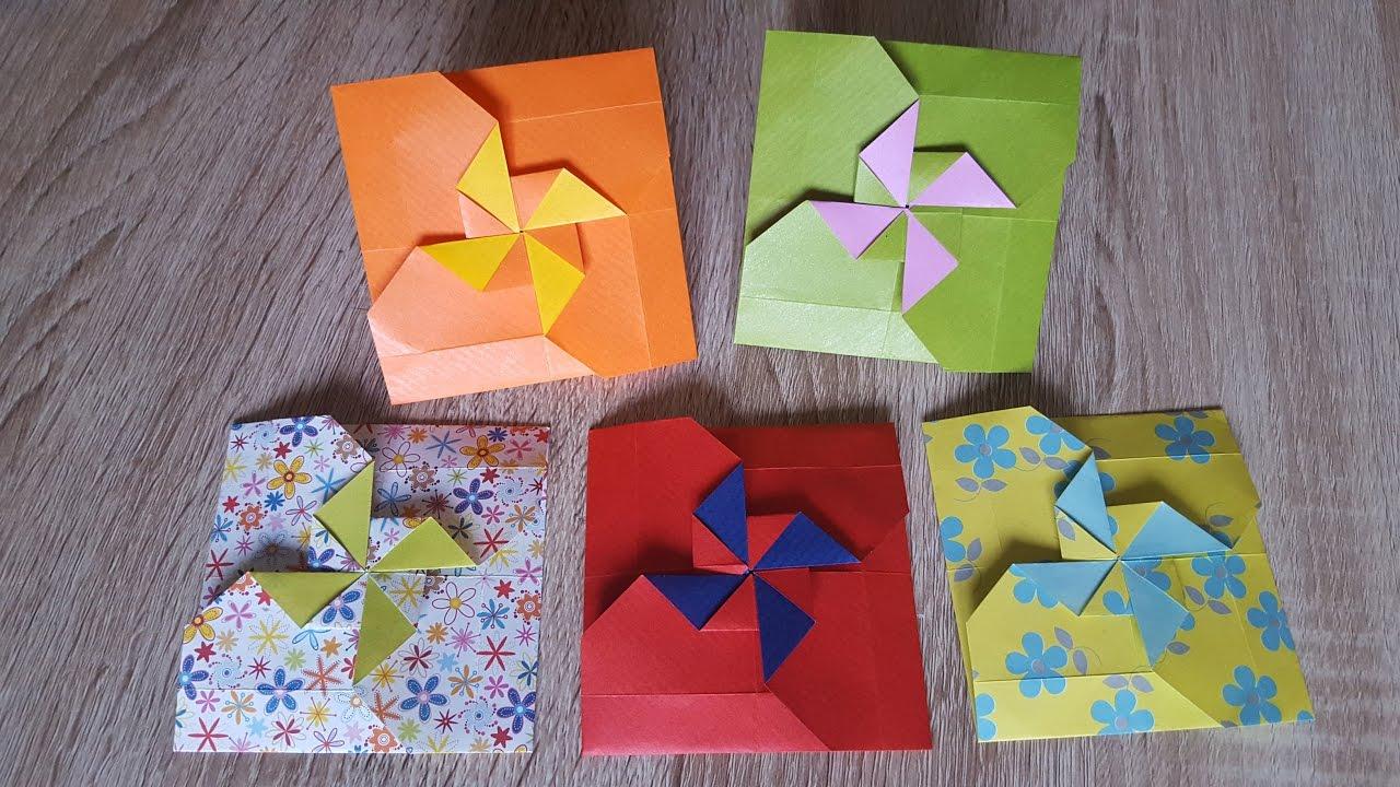 zum muttertag gutscheine sch n verpacken origami windrad youtube. Black Bedroom Furniture Sets. Home Design Ideas