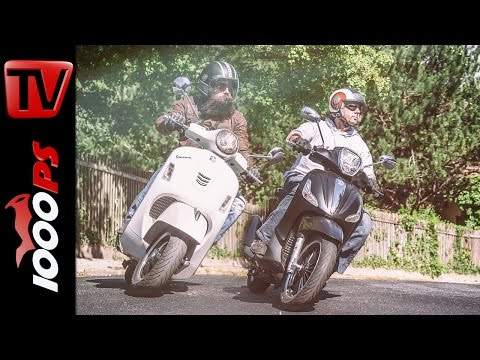 Vespa GTS 300ie Super vs Piaggio Beverly 300ie Police - Roller Vergleichs Test 2016