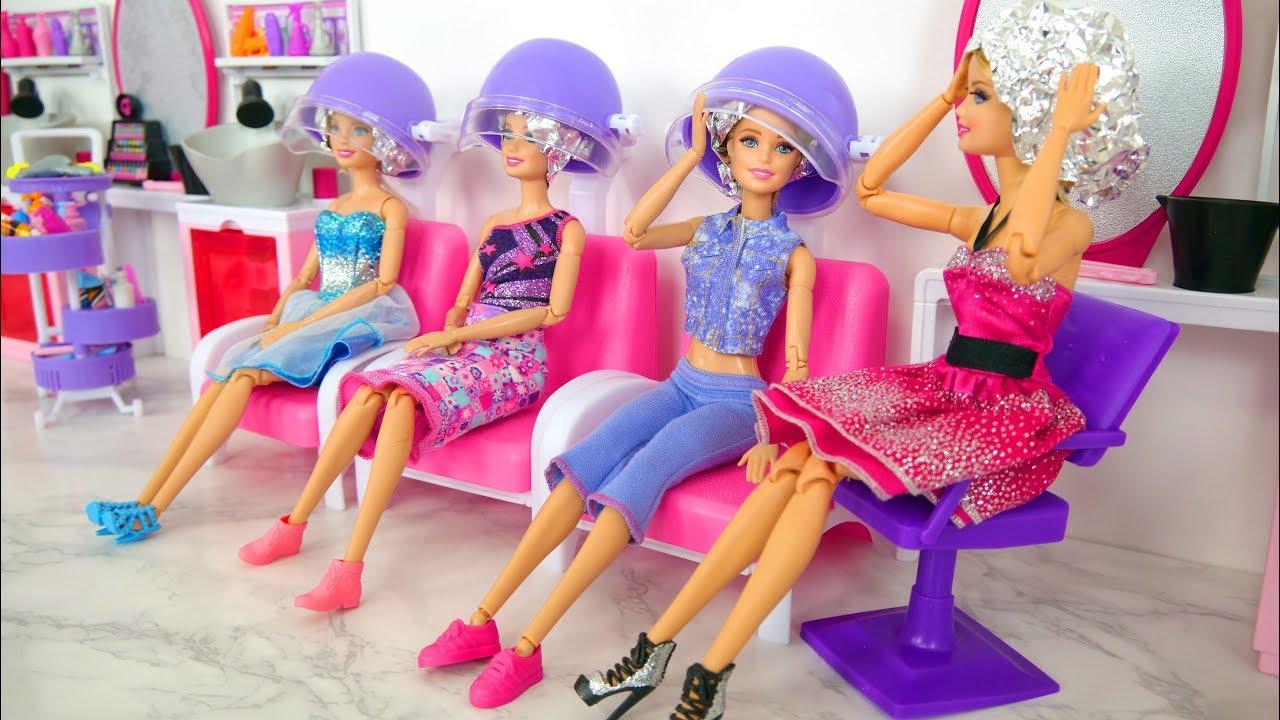 rapunzel barbie dolls makeover barbie sparkle style salon kecantikan boneka barbie friseursalon