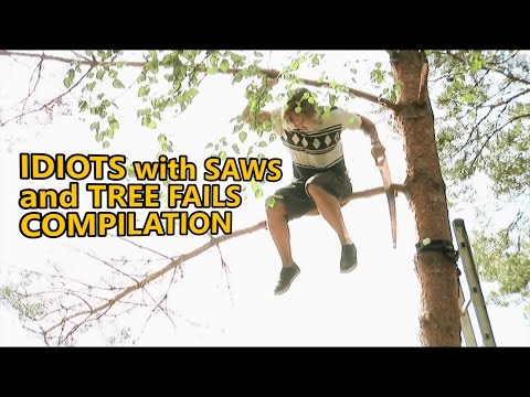 Chainsaw fails and idiots cutting trees  FAIL COMPILATION