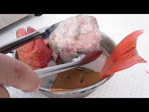 高温に熱した焼石を高級魚汁にぶち込む!