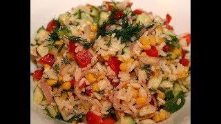 Юлия Высоцкая — Рисовый салат с огурцами и сладкой кукурузой
