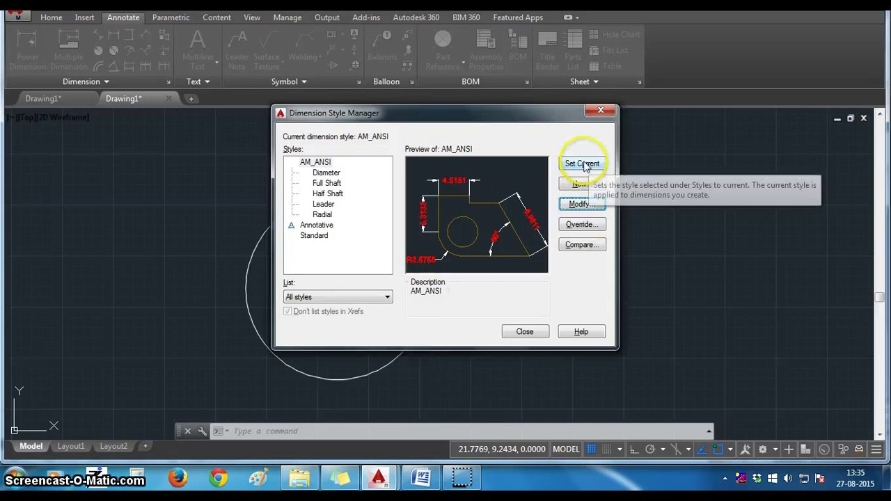 How to change dimension text height and arrow size in AutoCAD 2015 ...