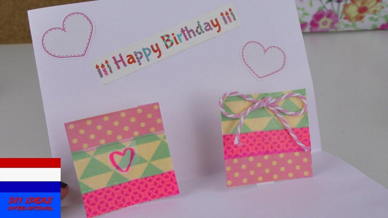 Diy pop up kaart met cadeau verjaardagskaart snel eenvoudig zelf maken met washitape youtube - Ideeen deco blijven ...