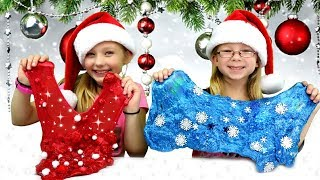 DIY CHRISTMAS SLIMES! Santa Claus vs Winter Breeze Slime Challenge!