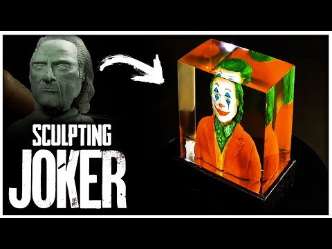 SCULPTING THE JOKER MOVIE LAMP -Polymer Clay With Epoxy Resin & Wood