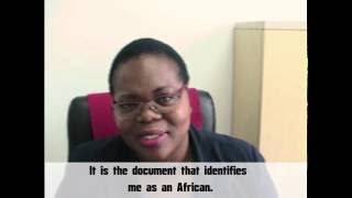 "Rita Amokhobu answers a question on ""What does the African Union Passport mean to her"" [20"