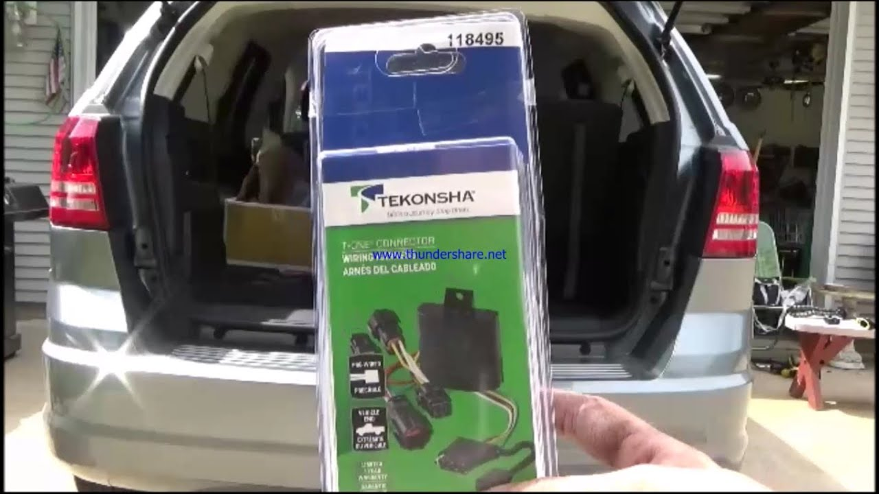 how to install 4 pin trailer wiring on a dodge journey 2010 youtube rh youtube com 2013 dodge journey trailer wiring harness dodge journey trailer tow wiring harness