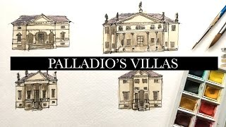 Watercolour In Process #10 - Architectural Speed Drawing Of Palladio Villas In Italy