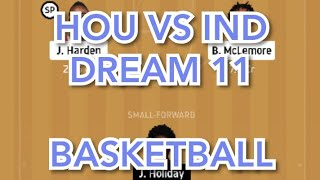 HOU vs IND Basketball match prediction dream11 win