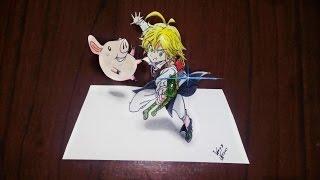 Desenhando Meliodas & Hawk 3D - Speed Drawing ( Nanatsu No Taizai)