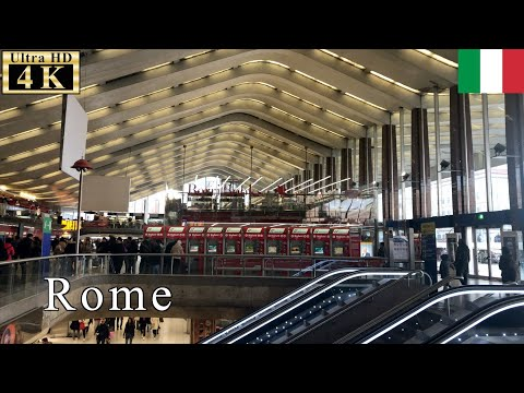 🇮🇹Roma Termini railway station - Rome Winter Walk -【4K 60fps】