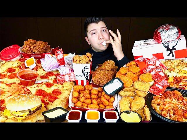 McDonald\'s, KFC, Pizza Hut, Taco Bell, Wendy\'s, Popeyes, Burger King • MUKBANG
