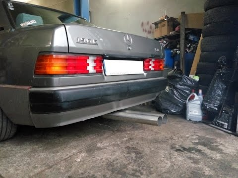 Mercedes-Benz W201 M102 Efi conversion,  first start a fully-through exhaust system.