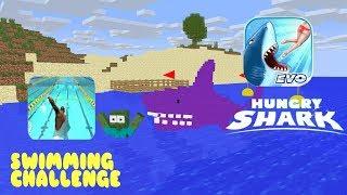 Monster School:HUNGRY SHARK CHALLENGE-MINECRAFT ANIMATION