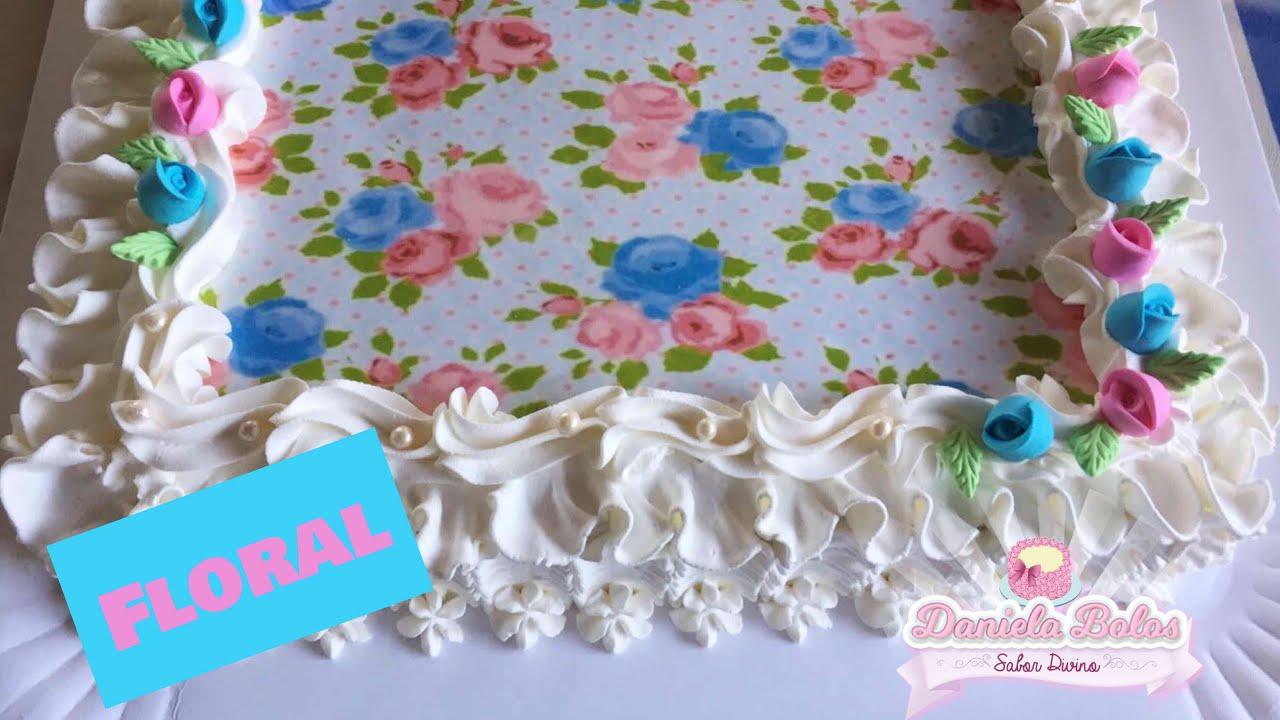 Confeitando bolo floral c  papel arroz especial e Jady Confeitos ... 5ce250926c4