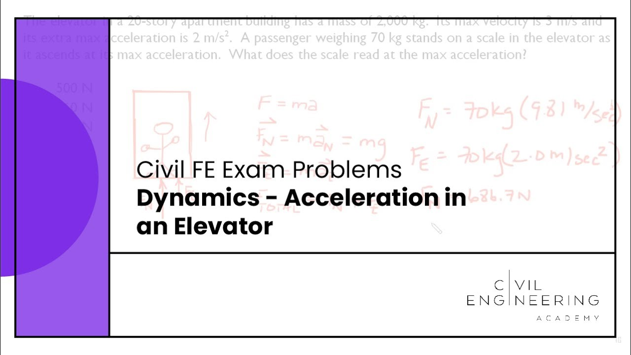 fe exams civil fe dynamics acceleration in an elevator