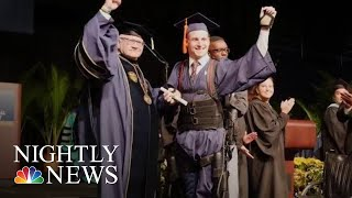Paralyzed Student Walks To Get College Diploma | NBC Nightly News