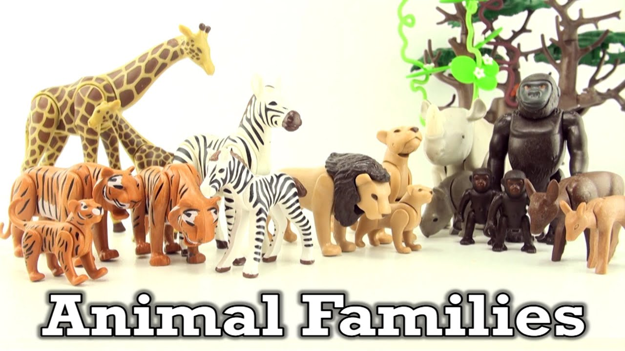 Playmobil Animal Family Giraffe Gorilla Lion Tiger