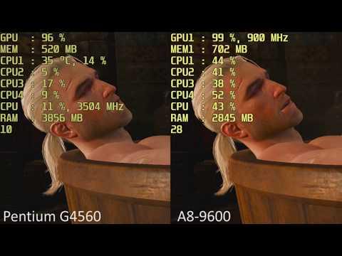 Intel Pentium G4560 HD 610 vs. AMD A8-9600 R7 iGPU in 15 Games. Intel HD 610 vs Radeon R7