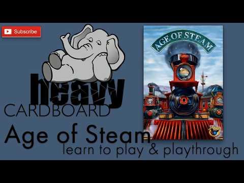 Heavy Cardboard Teaches Age of Steam & Full Playthrough! (Base map **Rust Belt**)